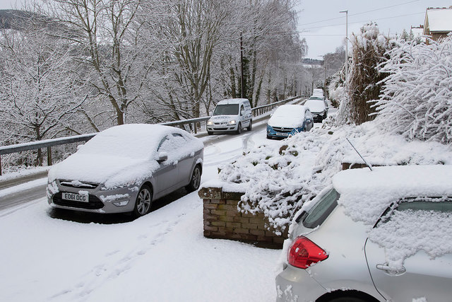 Winter conditions on the High Road, Galashiels
