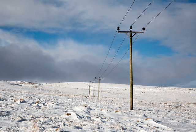 Power lines at Ladhope Moor
