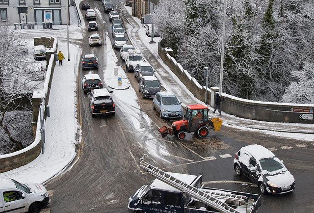 Traffic at Bridge Place, Galashiels