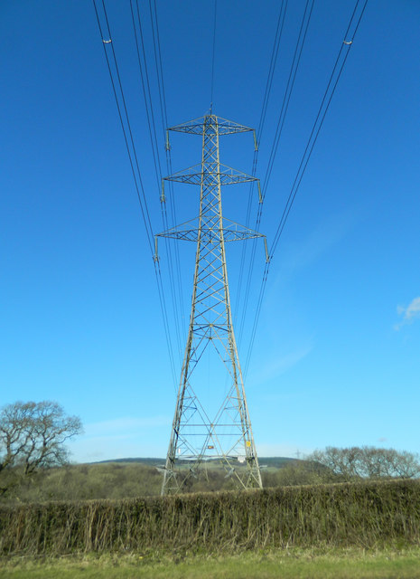 Pylon beside the Brynsadler to Llanharry road