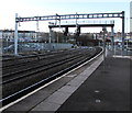 ST3088 : Early sign of electrification at Newport railway station by Jaggery