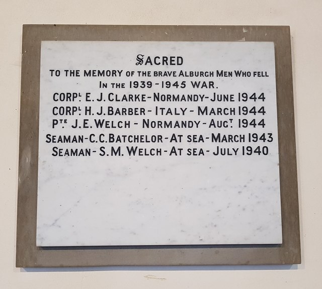 Alburgh WW2 memorial plaque