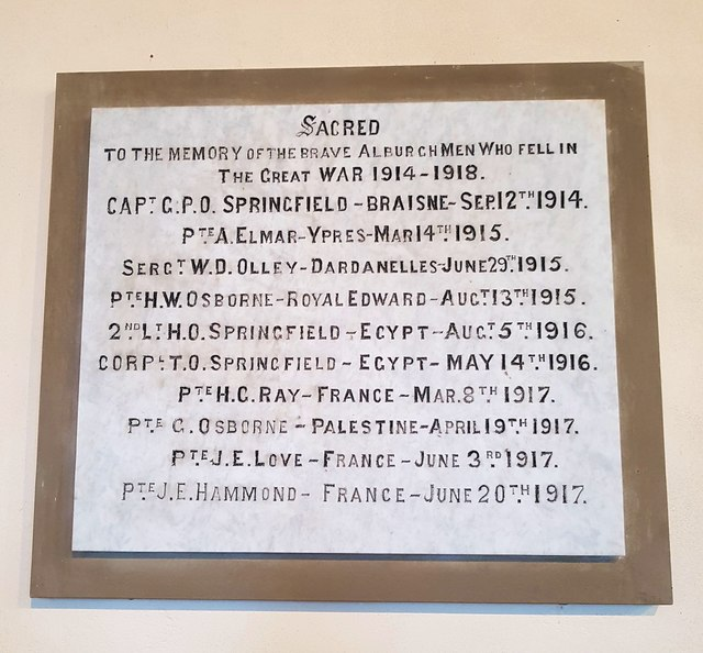 Alburgh WW1 memorial plaque 2