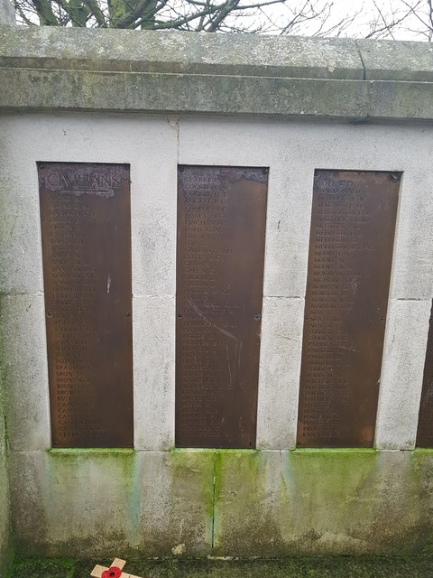 Names of the fallen on the Great Yarmouth WW2 War Memorial 1