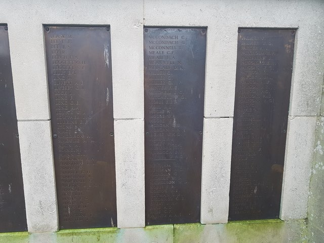 Names of the fallen on the Great Yarmouth WW2 War Memorial