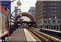 TQ3780 : West India Quay DLR station, through to Canary Wharf, 1991 by Ben Brooksbank