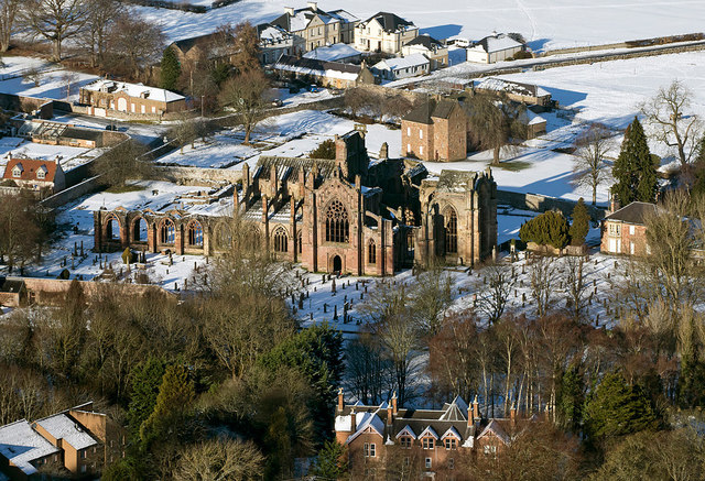 Melrose Abbey from the Eildon Hills