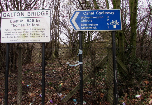 Canal Cycleway direction and distances sign, Smethwick