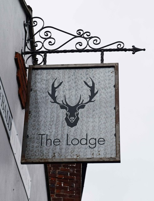 The Lodge (2) - sign, Baldwin House, Lombard Street, Stourport-on-Severn