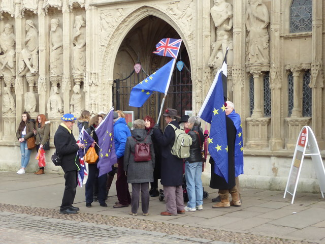 Brexit protesters, Cathedral Green, Exeter