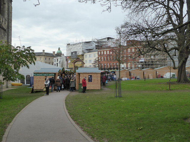 Approaching Exeter Christmas Market, Cathedral Green
