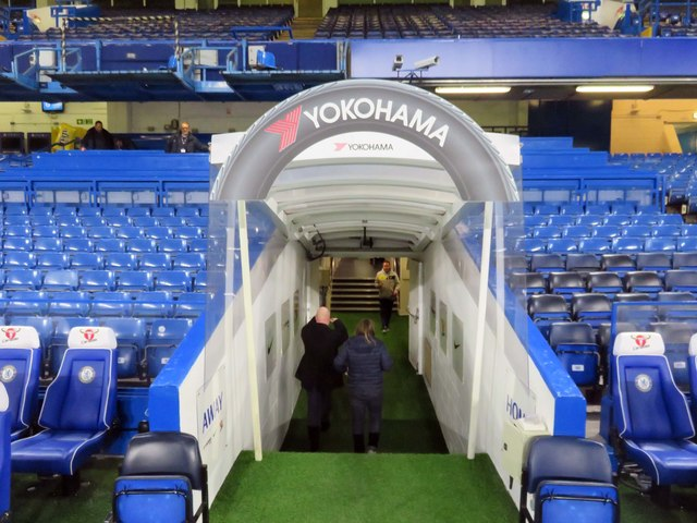 The tunnel in the West Stand at Stamford Bridge