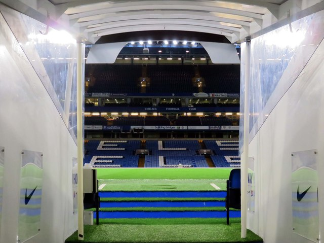 The view from the tunnel in the West Stand at Stamford Bridge