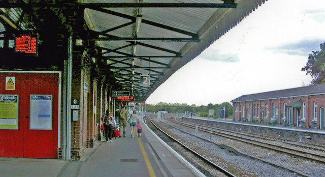 Yeovil Junction station, eastward on Up Main platform, 2013