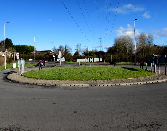 Wires over a roundabout south of Radyr, Cardiff