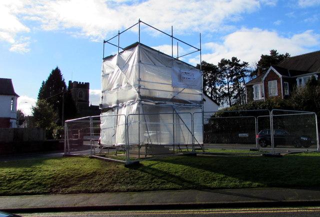 Radyr War Memorial under wraps in January 2018, Cardiff