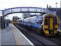 NH8856 : Trains passing at Nairn by John Lucas