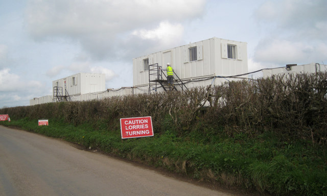 Support facilities for solar farm construction at The Beacon near Oldstone