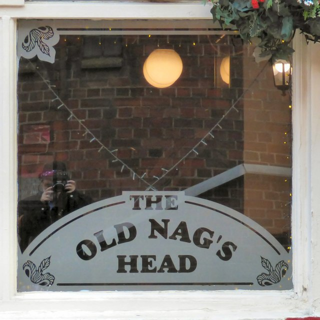 Old Nag's Head: Etched window