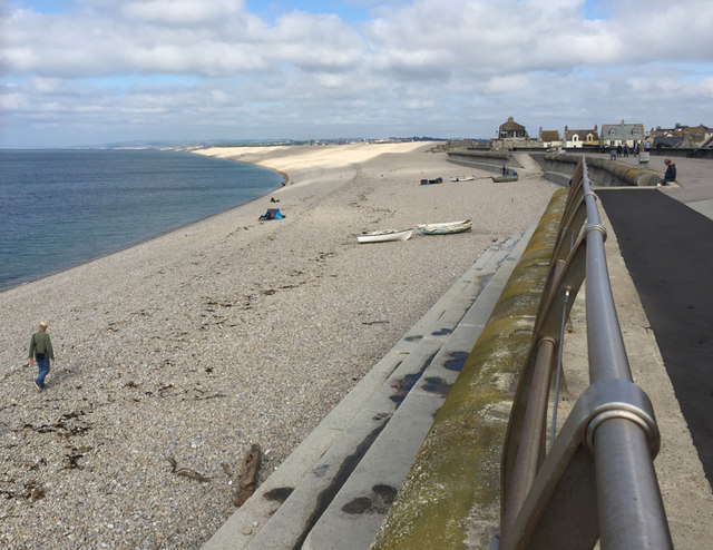 Chesil Cove, sea wall and promenade, Chiswell, Portland