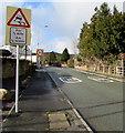 SJ3156 : Warning sign - skid risk for half a mile, Cefn-y-bedd, Flintshire by Jaggery