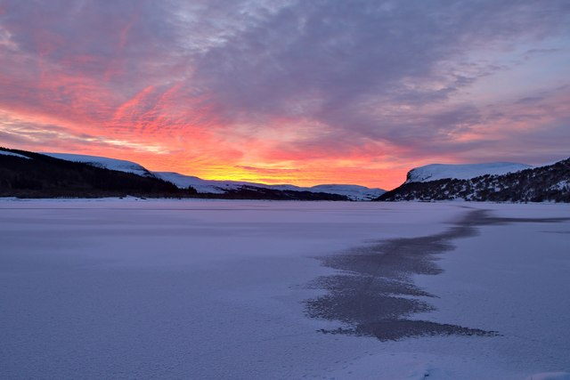 Dawn at Frozen Loch Brora, Sutherland, 2018