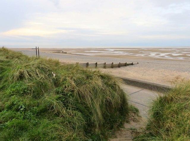 The beach near Rossall Point