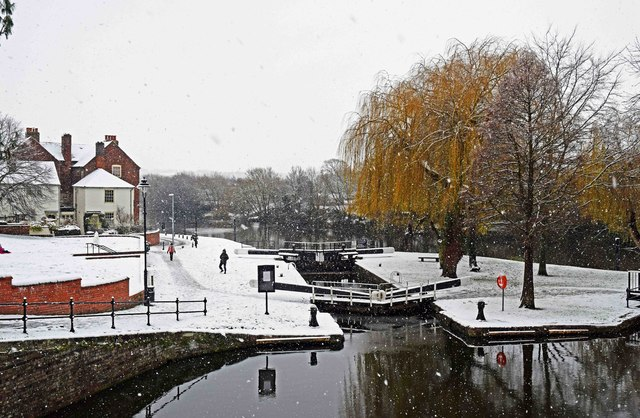 Wide lock into the River Severn in winter, Stourport-on-Severn