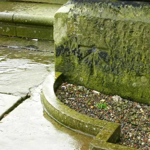 Bench mark and bolt, Christ Church Macclesfield