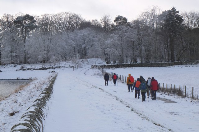 Walkers at Portmore Loch
