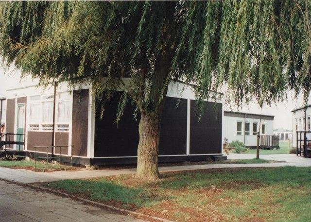 Alton Park Junior School grounds: demountable classrooms and willow