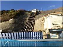 SZ0990 : East Cliff Lift, out of action due to cliff slip by David Smith