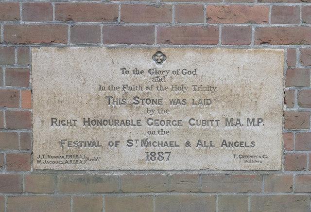 Christ Church, Christchurch Park, Sutton - Foundation stone