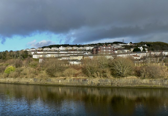 The St. Thomas area of Swansea, seen from the west bank of the River Tawe.