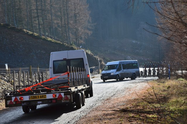 Minibuses in the forest, Plora Craig