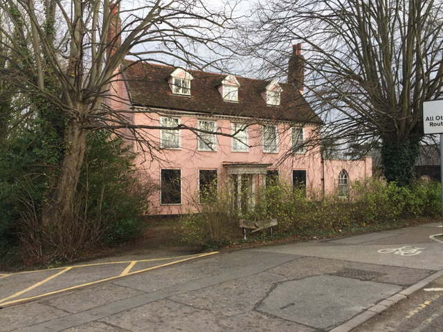 Pink-washed old house with a tiled roof, Ipswich Road, Stowmarket