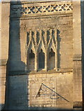 SP7387 : Sundial and windows on the tower of St Dionysius's Church by Humphrey Bolton