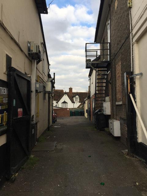 Rear access on the south side of The Oak public house, Ipswich Street, Stowmarket