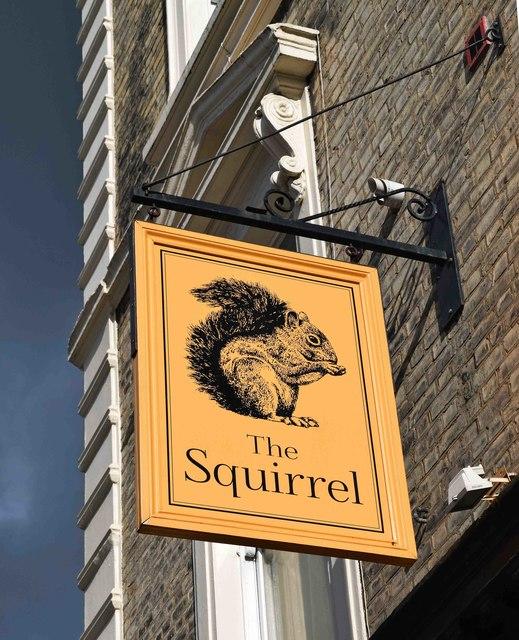 The Squirrel (2) - sign, 46 Chippenham Road, Maida Vale, London
