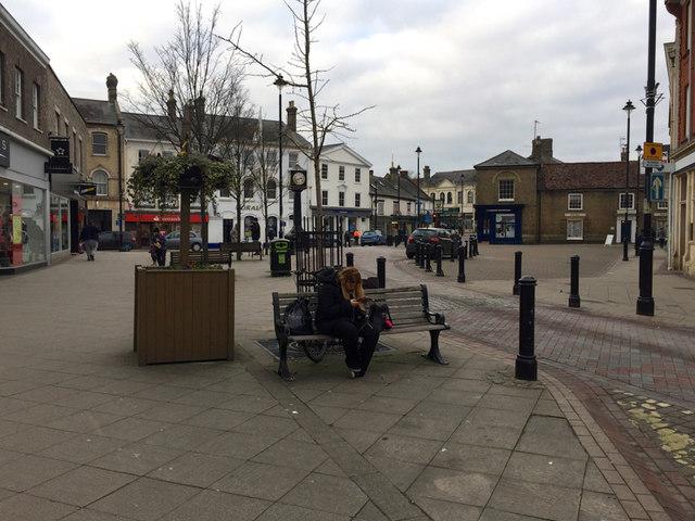 Market Place, Stowmarket, looking northwest from Ipswich Street