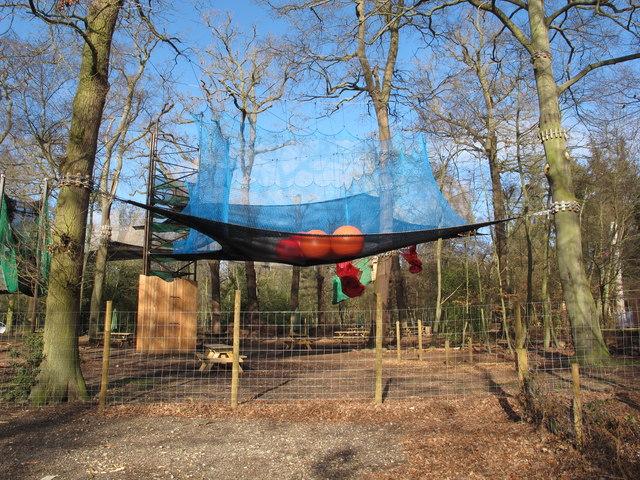 """Go Ape"" net trampoline with beach balls, Black Park"