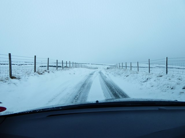 Driving the snowy lanes near Castleton