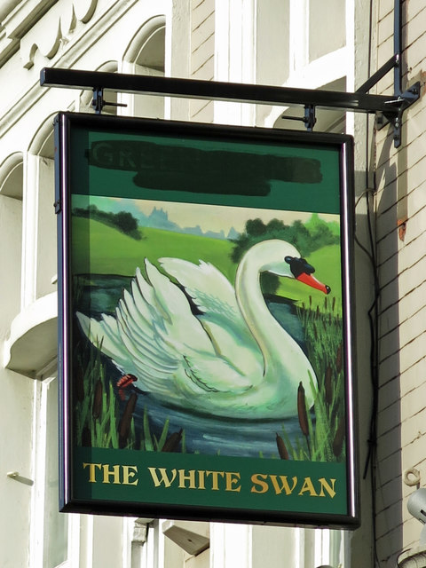 Sign for The White Swan, Vauxhall Bridge Road / Causton Street, SW1