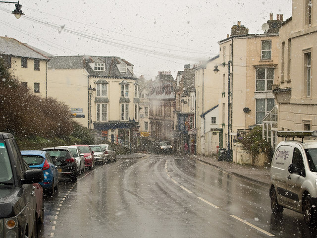 A snow flurry in Portland Street