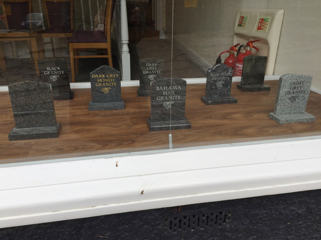 Types of 'granite' in a funeral director's window, Marriotts Walk, Stowmarket