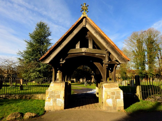 The lych gate to St James' Church