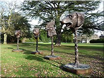 SE2812 : Four zodiac heads at the Yorkshire Sculpture Park by Christine Johnstone