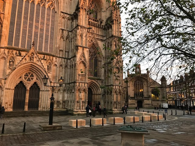 Late winter afternoon outside York Minster