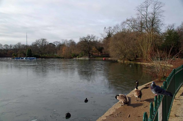 Icy Lower Lake in Crystal Palace Park