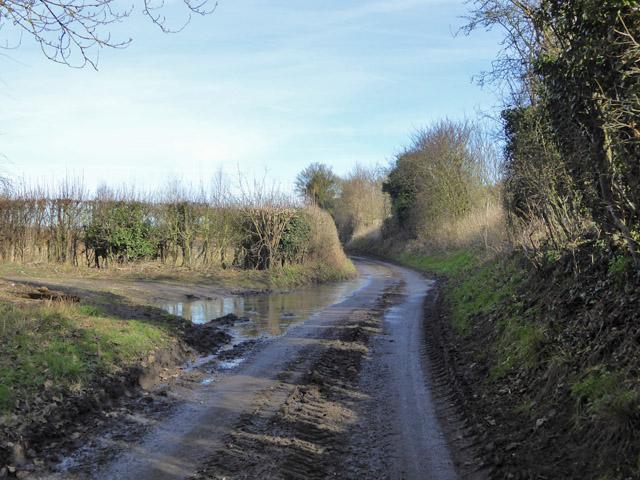 Muddy and wet lane